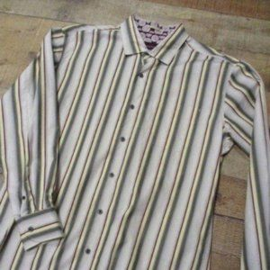 Tommy Bahama Gray Yellow Red Stripe Men's Shirt XL